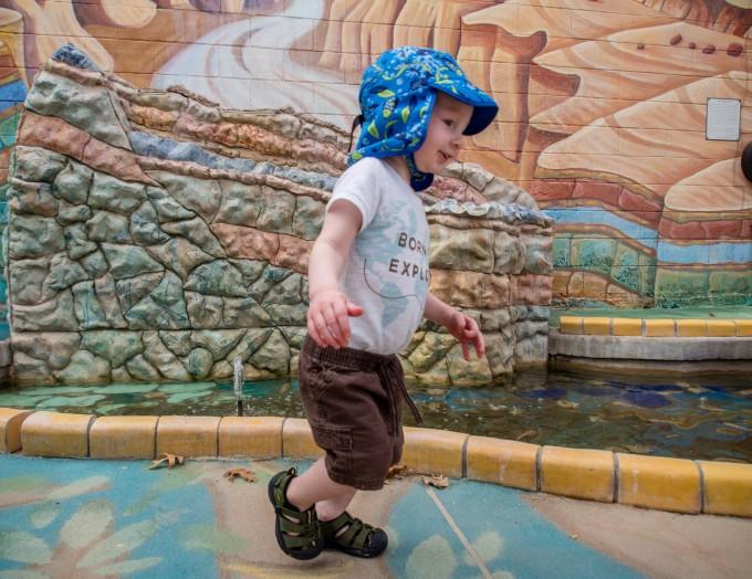 Exploring the fountains in Artisia, NM.
